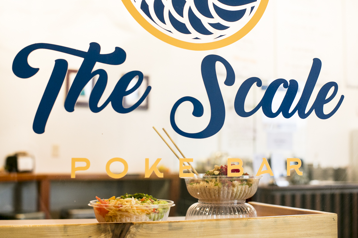 The Scale Poke Bar, a raw sushi bowl restaurant, in Williston Vermont. By Vermont food photographers at JAM Creative.