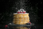 Food Photography of pancakes, maple syrup and berries for runamok maple. by Burlington Vermont Commercial Photographers JAM Creative.