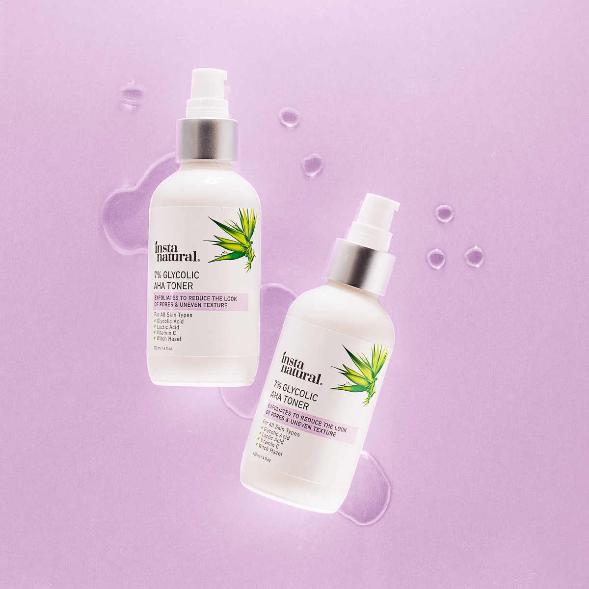 Skin care photography of Glycolic Aha Toner for Instanatural, by product photographers at JAM Creative