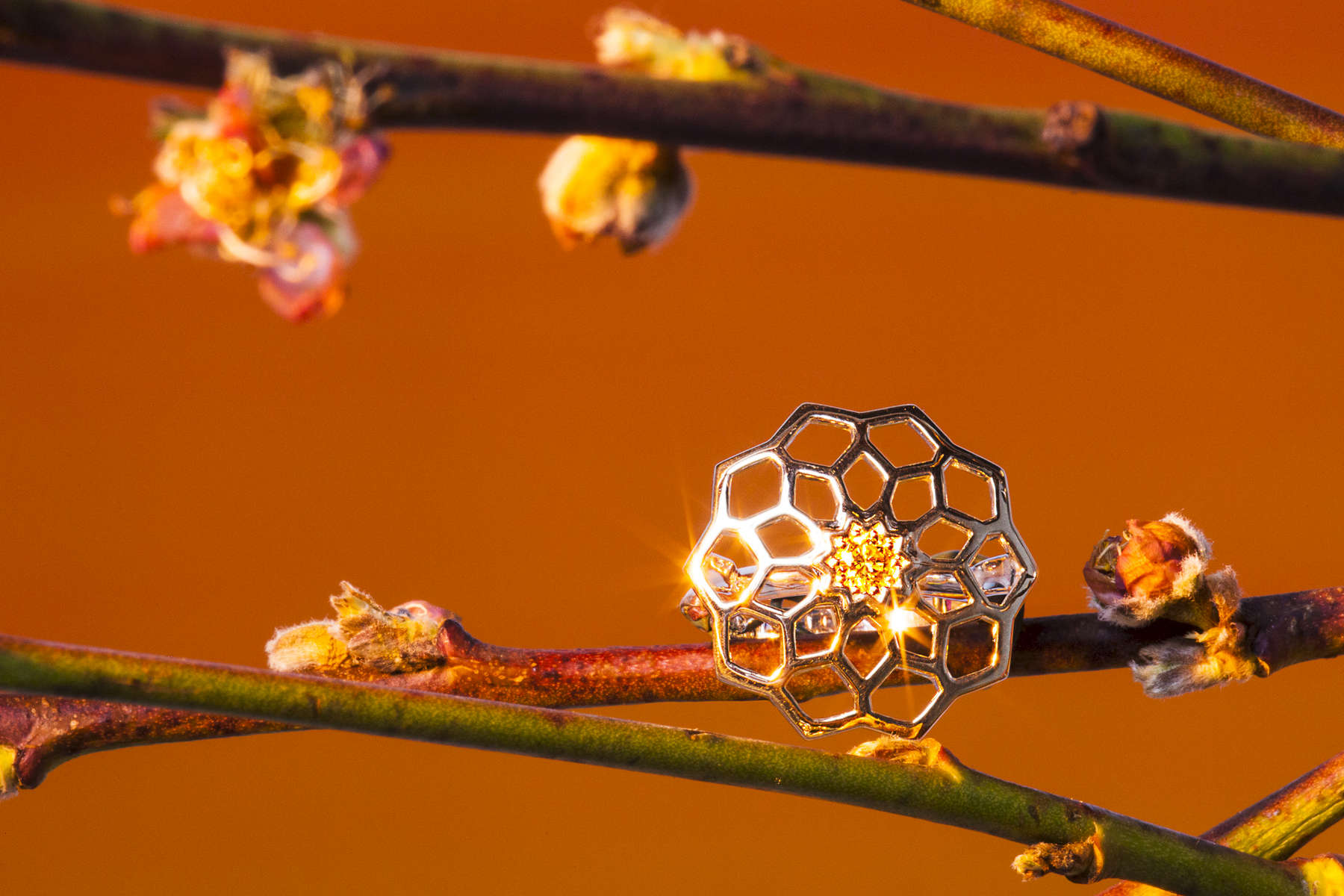 Jewelry photography with honeycomb ring and orange sunset shot for Perrywinkles Fine Jewelers by Vermont photographers at Reciprocity Studio.