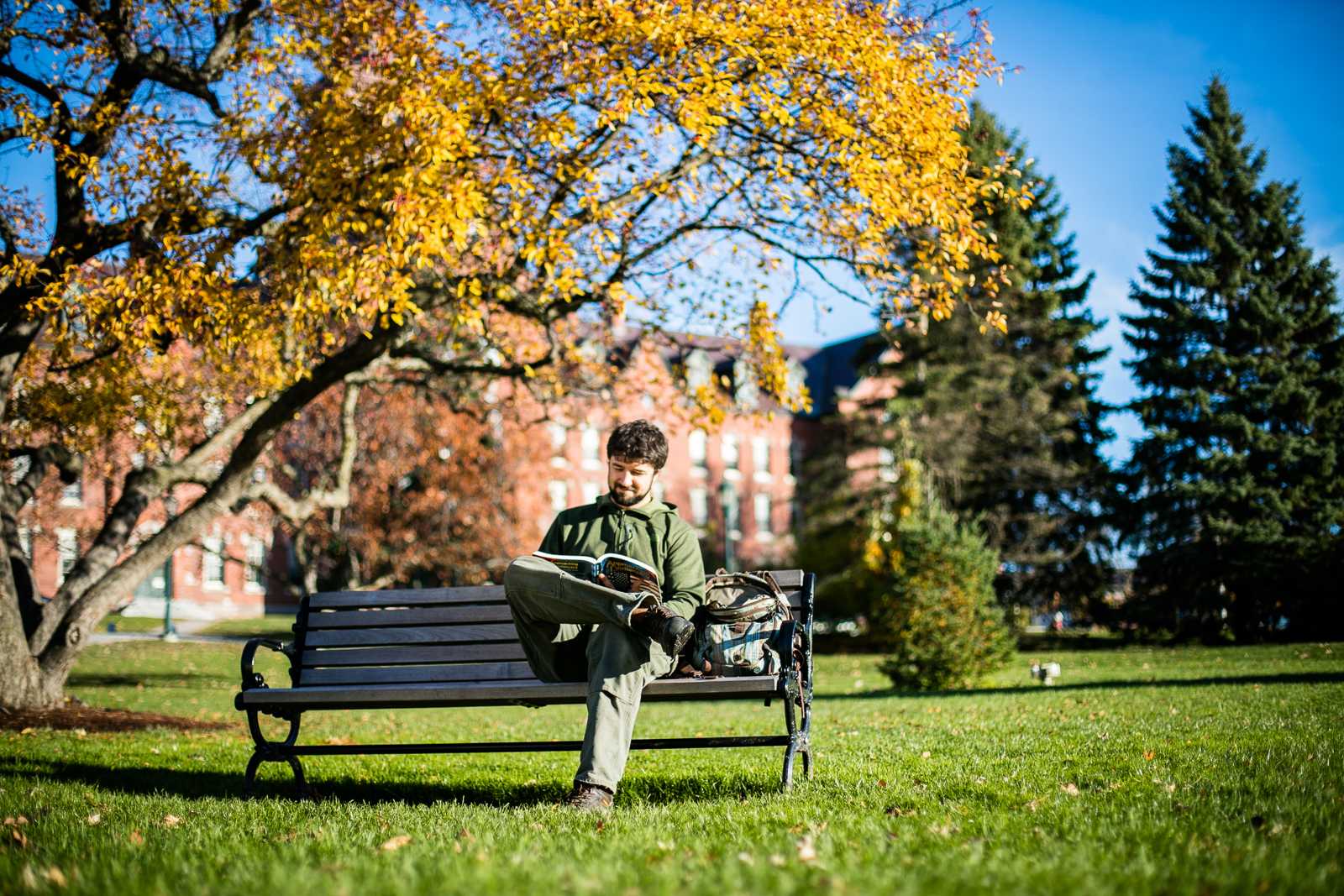 Studying on the University of Vermont lawn in Burlington, Vermont. by photographers at Reciprocity Studio for the Vermont Student Assistance Corporation (VSAC)