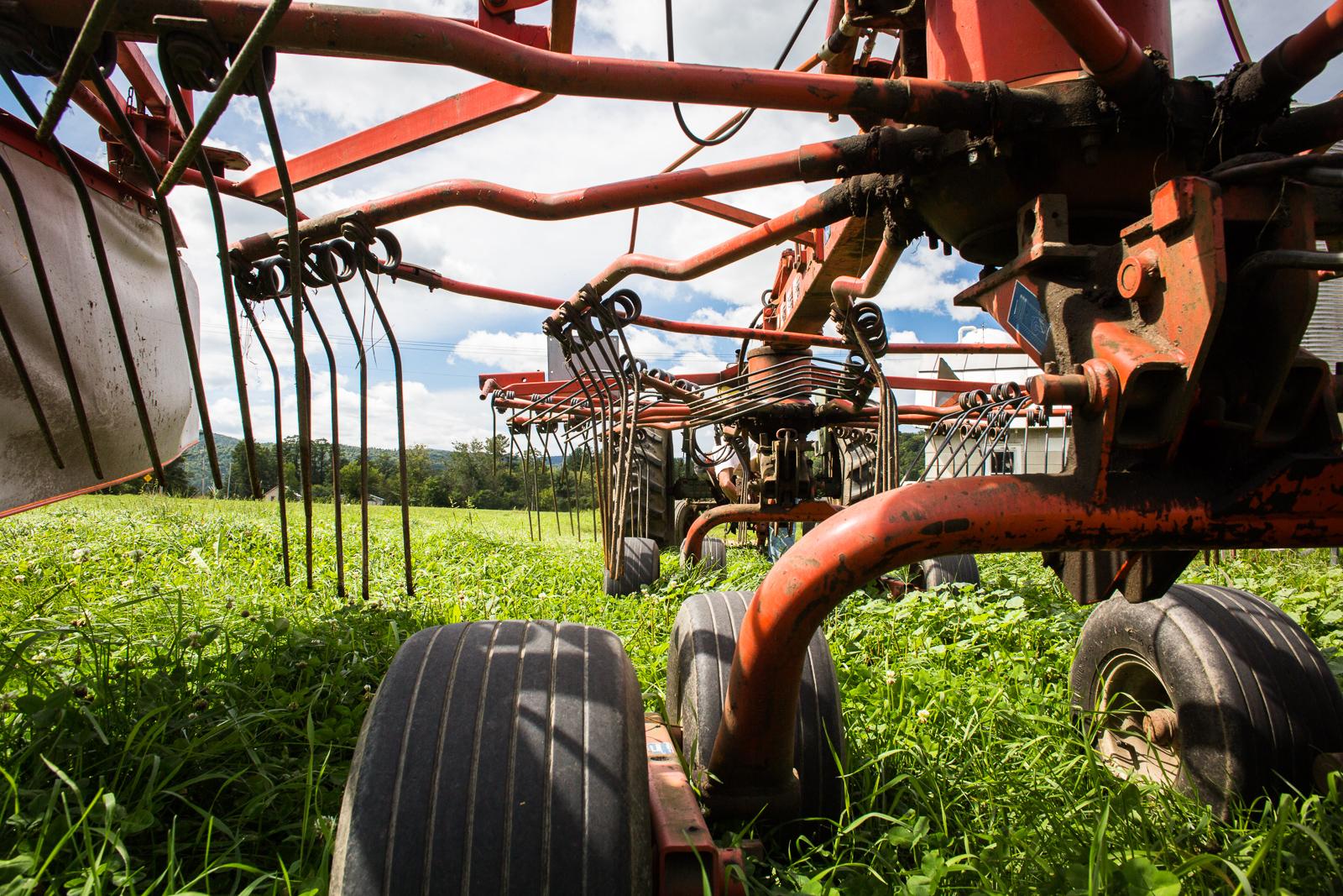 Farm equipment at Ayers Brook Farm in Randolph, Vermont.
