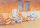 Two white chairs leaning back against a wall of a front porch in Viñales, Cuba. Watercolor by Martha Shilliday