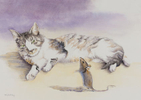 Cuban cat and mouse, watercolor by Martha Shilliday