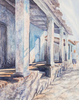 A Man walks past a building with columns in Cuba. Watercolor by Martha Shilliday