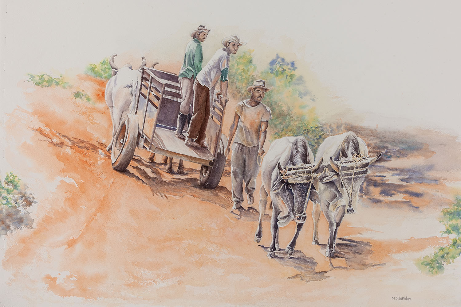 Three Cuban farm workers stand by their oxcart on a dirt trail near Viñales, Cuba.