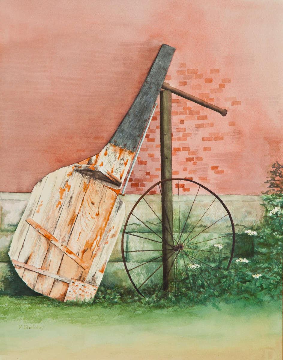Old wooden rudder leaning against wall Boston Harbor Island, Boston, Massachusetts.