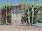 Watercolor by Martha Shilliday of a Southwestern style doorway.