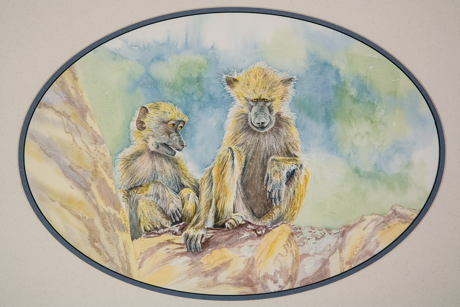 Two Yellow Baboons on a tree limb