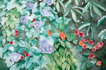 Multi-colored flowers and greenery in a watercolor image on a card by Martha Shilliday, watercolor artist.