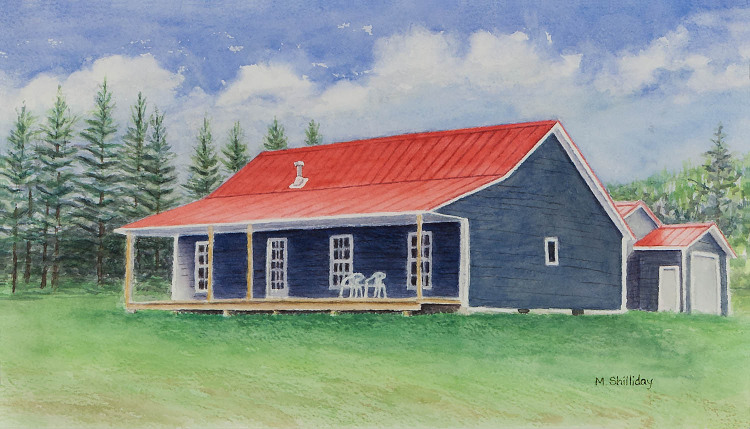 Watercolor of Ken and Beth's house in PEI, Canada.