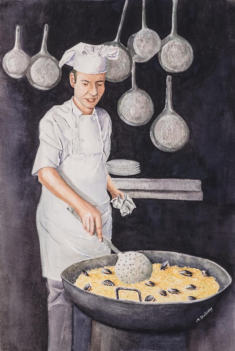Chef with paella, Granada, Spain