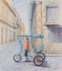 A pedicab driver in Havana, Cuba. Watercolor by Martha Shilliday