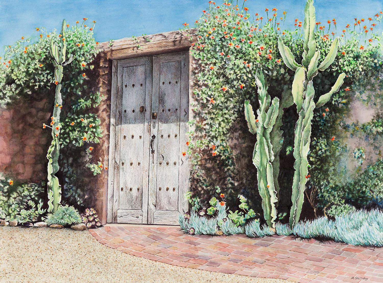 Southwestern Doorway located at the El Caserio, Santa Barbara, CA