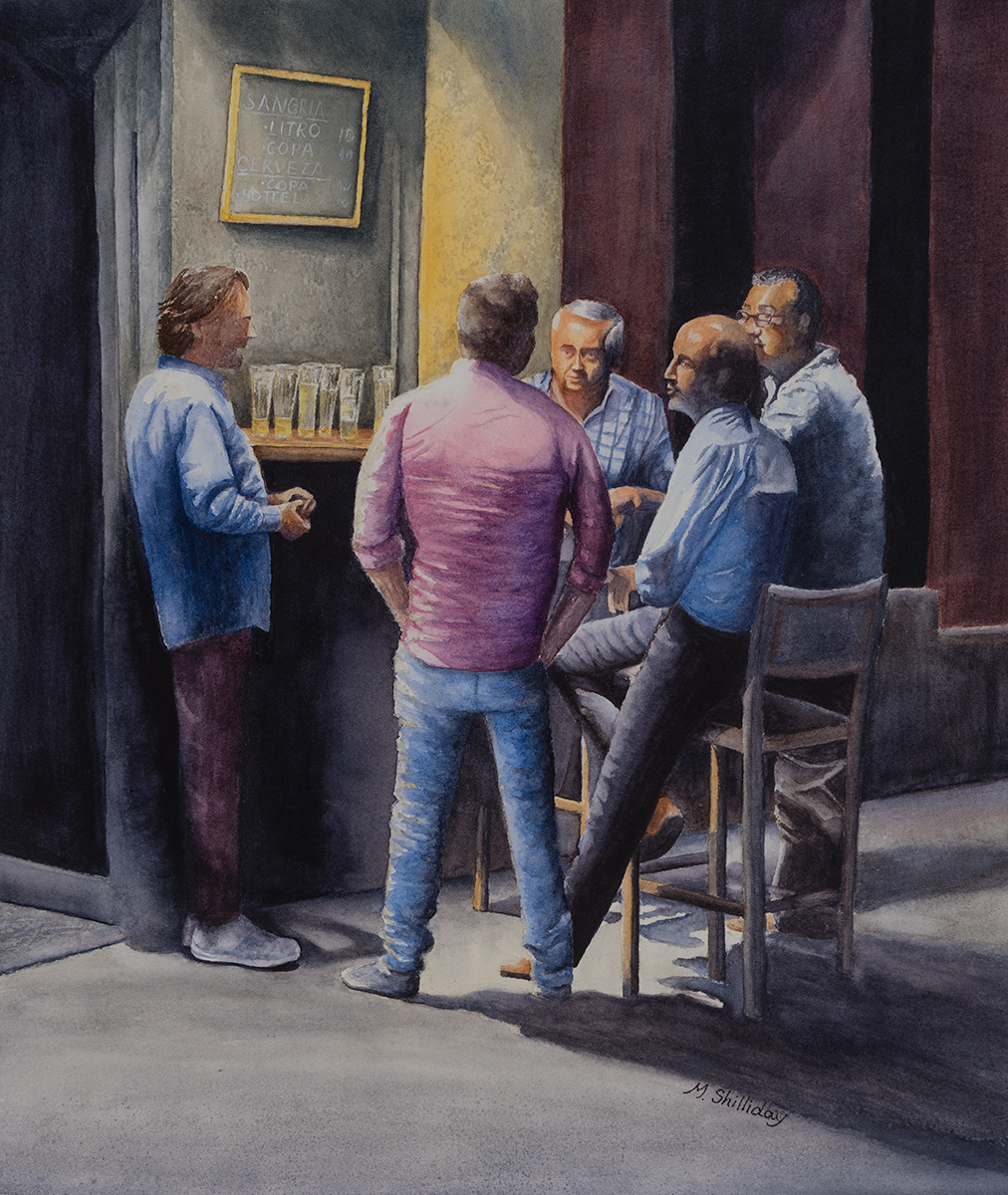 Five men outside a Taverna, Madrid, Spain