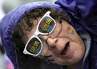 A participate shows her support for the Color Run in Nashville,Tenn. (Mark Zaleski/ For The Tennessean)