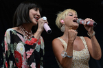 Pam Tillis and Lorrie Morgan perform on the Bud Light Stage at the Bridgestone Arena during the2013 Country Music Festival in Nashville, Tenn.(The Tennessean/ Mark Zaleski)