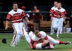 Louisville players celebrate on the field after defeating Vanderbilt 2-1 in a 2013 NCAA college baseball tournament super regional game in Nashville, Tenn. (Mark Zaleski/ The Tennessean)