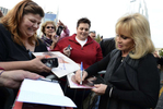 "Barbara Mandrell signs autographs for fans after arriving at the ceremony for the 2013 inductions into the Country Music Hall of Fame in Nashville, Tenn. The inductees are Bobby Bare, the late ""Cowboy"" Jack Clement and Kenny Rogers. (AP Photo/ Mark Zaleski)"