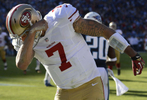 San Francisco 49ers quarterback Colin Kaepernick celebrates after scoring a touchdown on a 20-yard runagainst the Tennessee Titans in the second quarter of an NFL game on Oct. 20, 2013, in Nashville, Tenn.(AP Photo/ Mark Zaleski)