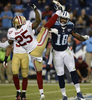 Tennessee Titans wide receiver Kenny Britt pushes San Francisco 49ers cornerback Tarell Brown after a play in the fourth quarter of a NFL football game on Oct. 20, 2013, in Nashville, Tenn. Britt was penalized for unnecessary roughness on the play. The 49ers won 31-17. (AP Photo/ Mark Zaleski)