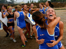 University of California, Santa Barbara, women's cross country team celebates after winning the team competition during the Big West cross country championship race at University of California, Riverside. (The Press-Enterprise/ Mark Zaleski)