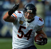Chicago Bears middle linebacker Brian Urlacher runs to the end zone after intercepting pass against the Tenneessee Titans Sunday, Nov. 4, 2012 in Nashville, Tenn. (The Tennessean/ Mark Zaleski)