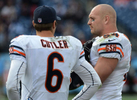 Chicago Bears quarterback Jay Cutler and middlelinebacker Brian Urlacher talk on the sidelines during a game against the Tennessee Titans on Nov. 4, 2012 in Nashville, Tenn. (The Tennessean/ Mark Zaleski)