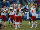 Kansas City Chiefs kicker Ryan Succop and holder Dustin Colquitt celebrate after Succop made a 48-yard field goal to seal a 26-17 win over the Tennessee Titans in thefinal minutes of the fourth quarter of an NFL football game on Oct. 6, 2013, in Nashville, Tenn. (AP Photo/ Mark Zaleski)