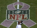 Tennessee Titans wide receiver Nate Washington warms up by a breast cancer awareness logo before an NFL football game between the Tennessee Titans and theKansas City Chiefs on Sunday, Oct. 6, 2013, in Nashville, Tenn. (AP Photo/ Mark Zaleski)
