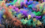 At the end of the 5K Color Run, participants openpackets of colored powder at LP Field in Nashville, Tenn. (Mark Zaleski/ For The Tennessean)