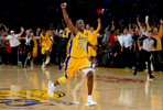 Los Angeles Lakers guard Kobe Bryant celebrates as the Lakers beat the Boston Celtics 83-79 during Game 7 of the NBA basketball finals at the Staples Center in Los Angeles, Calif. (The Press-Enterprise/ Mark Zaleski)