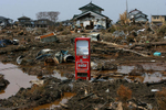A Coca-Cola machine sits in the middle of a neighborhood that was destroyed by the tsunami that hit Sendai, in the Miyagi Prefecture of northern Japan. (The Press-Enterprise/ Mark Zaleski)