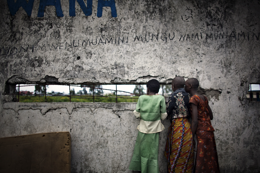 """Africa, Democratic Republic of Congo; North Kivu; Goma. 01/02/2009. Some young patients, who were considered {quote}possessed"""" before the treating, are seen in the only psychiatric hospital of Goma."""