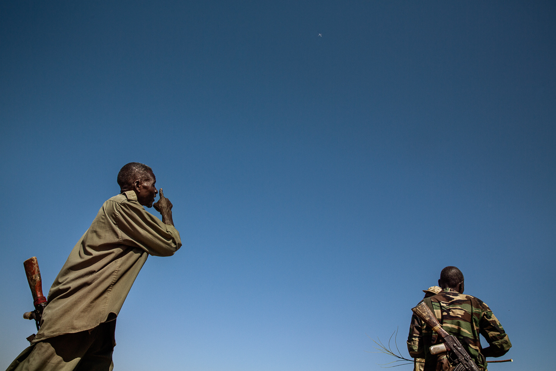 Africa, Sudan, South Kordofan. The passage of an Antonov above the front line causes tension among the troops. 2nd dec 2013