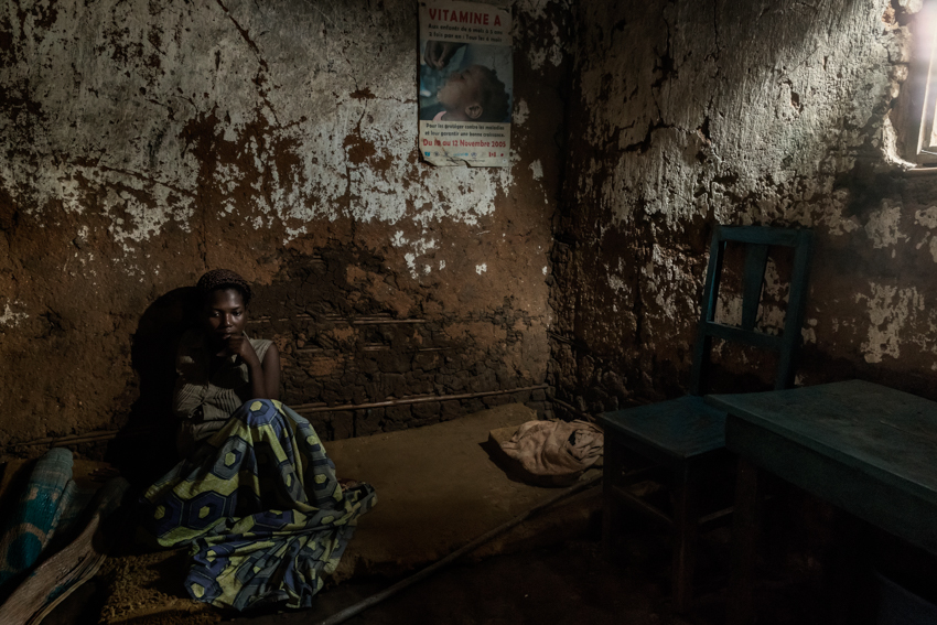 Africa, Democratic Republic of Congo, North Kivu, Rutshuru, 26/01/2017. Bora Uzima Safari, 18, displaced during the M23 war in 2012, left Rutshuru and took refuge with her mother and siblings in Mweso. On april 2016, on her way back from school, she was raped in the fields by two men with their faces covered. When she discovered she was pregnant, she was abandoned by her boyfriend and all her friends. For the whole of her pregnancy, she suffered an untreated vaginal infection that has made it difficult for her to walk. On 27 January, she gave birth to her daughter Giselle, conceived when she was raped. Her mother was also raped in Mweso.