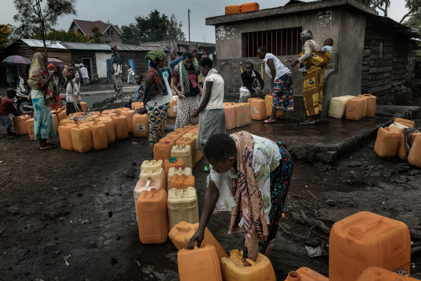 Africa, Democratic Republic of Congo, North Kivu, Goma. 28/01/2017. Women in line to get water at a public well. Women are a driver for Congolese society, because it is the women who perform the most varied tasks in order to support their families, and they are also responsible for raising children. More often than not, rape goes unpunished in the Congo. Rape victims totalled 15,000 in 2015 alone.
