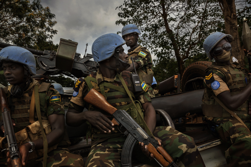 Africa, Central African Republic, Bangui. The Blue Berets of MINUSCA–the United Nations multidimensional integrated stabilization mission in Central Africa, a peacekeeping mission that currently comprises 8600 men, set to rise to 12,000 by the end of 2015. 29th January 2015©Marco Gualazzini