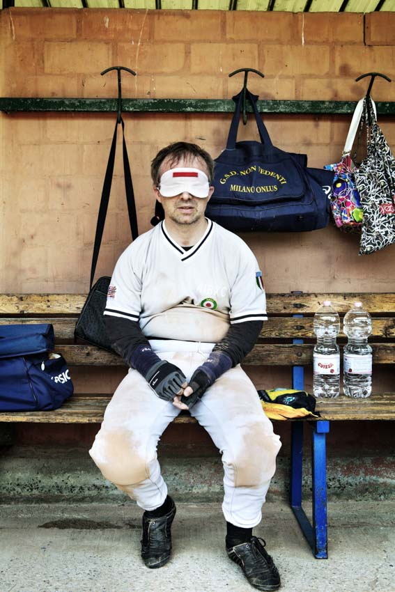 Bologna, Emilia Romagna, Italy, 3rd May 2012. Francesco Cusati is seen in a moment of rest during the match helds in the baseball field {quote}Leoni{quote} in Bologna. For a story by Elisabetta Povoledo on Blind Baseball Tournament, Italy CREDIT: Marco Gualazzini for the International Herald Tribune