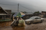 Africa, Democratic Republic of Congo, South Kivu, Bukavu. 05/02/2017. A Glimpse of the neighborhood of Panzi during a thunderstorm, where the Panzi Hospital is located. Rape, sexual violence, abuse of women: this is the tragedy within the tragedy of this African country, for which there appears to be no way out. Every year, 15000 women are raped: an average of 2 an hour. Sexual violence in the Congo remains first and foremost a weapon of war, and is the darkest of the horrors in this African heart of darkness.