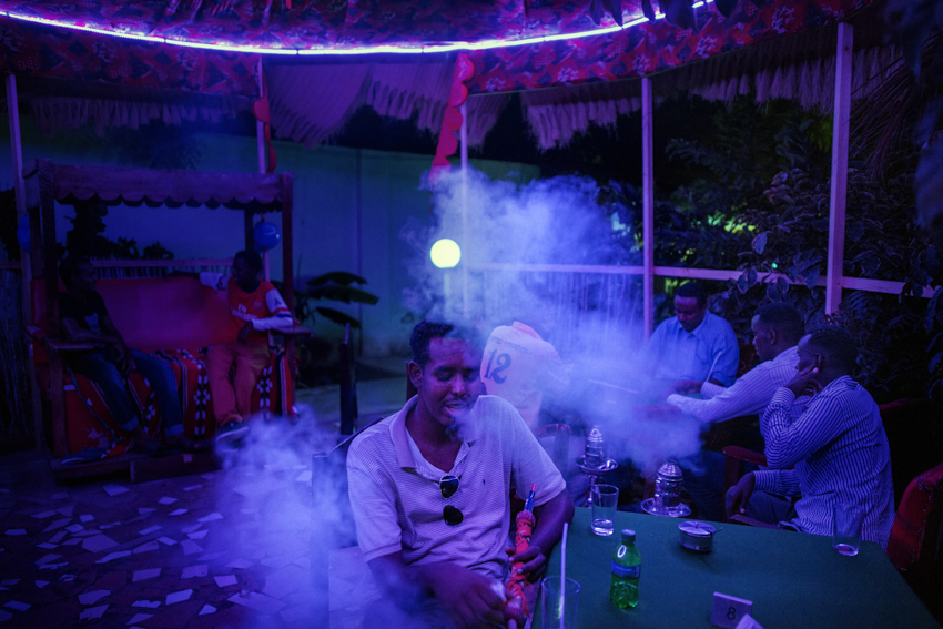 frica, Somalia, Mogadishu. 18/10/2015. Posh Treats- Country Club, Km5. Posh Treats restaurant and night club - the only venue in Mogadishu with a disco. Located within a well-protected complex, it was started up in January 2015 by Manar Moalin, a 33-year-old woman from the Somali diaspora. The club offers hairdressing services, a spa, a gym, a billiards room, live music, a restaurant and narghilè, all activities that remain a taboo in Somalia; anyone practicing them becomes a target for the Islamic fanaticism of Al-Shabaab. On the 15th of June 2017, a combined suicide bomb and gun attack on Posh Treats killed at least 20 people.The attack started on Wednesday evening as Muslims were breaking their daily fast during Ramadan.