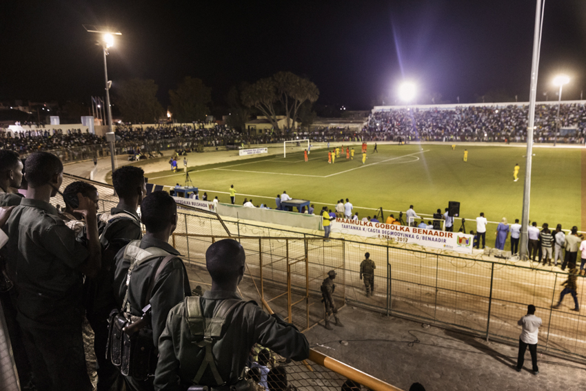 frica, Somalia, Benaadir region. Mogadishu. The soccer match between Hodan and Waberi districts, in the first night-time match since chaos descended on the Somali capital nearly three decades ago.The tournament for 16 and 18-year-olds at the Konis Stadium, renovated by FIFA, was played under tight security because of the constant threat posed by the Shabaab Islamist group.The stadium has been and remains a military base for African Union peacekeepers, who drove Al-Shabab militants out of the city in 2011.
