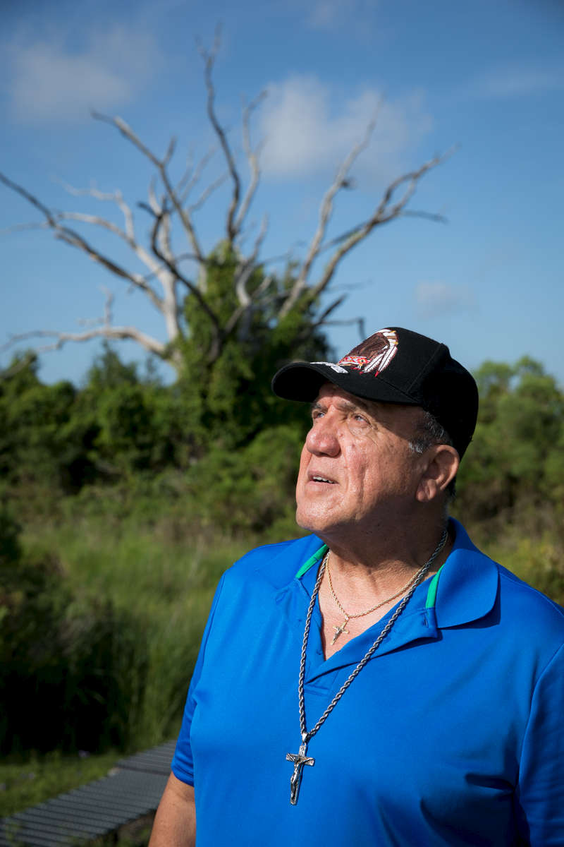 "Albert Naquin, chief of the Isle de Jean Charles tribe, is a Vietnam veteran and retired oil field inspector for the federal government. He is well aware that his island's embattled ecology is part of a larger pattern of peril that extends far beyond Louisiana. Islanders call stumps from the ruined woodland ""ghost trees,"" which points to the way that the natural history of the island continues to resonate with residents even when touchstones of the local geography have disappeared.Slipping Into the SeaIsle de Jean Charles along the coast of Louisiana has lost 98 percent of its land since the 1950s. Its residents— members of the Biloxi-Chitimacha-Choctaw tribe of Native Americans—find a way to survive as they forge a model for other coastal communities facing similar existential threats. Taken on August 7, 2017. Photo by Paul Morse"