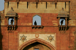President Bush: Remarks in New Delhi India. Purana Qila. Security forces stand in windows.