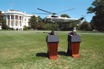 PRESIDENT BUSH GREETS PRESIDENT FOX ON THE SOUTH LAWN. THEY WALK TO THE WEST WING AND LOOK AT THE VIEW FROM THE COLONNADE. THEY MEET WITH CONDOLEEZZA RICE, AL GONZALES, ANDY CARD AND KAREN HUGHES. PRESIDENT BUSH AND PRESIDENT FOX ARE PICTURED ALONE IN THE OVAL OFFICE. THEY WALK DOWN THE SOUTH LAWN SIDEWALK TO A PODIUM ON THE SOUTH LAWN. THEY DELIVER A JOINT STATEMENT. PRESIDENT BUSH AND PRESIDENT FOX WAVE  PRIOR TO BOARDING MARINE ONE (WHITE HOUSE WEB SITE PHOTO P6812-18). THEY FLY TO ANDREWS AIR FORCE BASE EN ROUTE TOLEDO, OHIO. SHOWS STAFF WALKING TO A NIGHTHAWK HELICOPTER AT THE LINCOLN MEMORIAL LANDING ZONE. PRESIDENT BUSH AND PRESIDENT FOX ARRIVE ANDREWS AFB ABOARD MARINE ONE. THEY WAVE BEFORE BOARDING AIR FORCE ONE. THE PRESIDENT MEETS WITH PRESIDENT FOX AND THE MEXICAN DELEGATION IN HIS AFI OFFICE. PRESIDENTS BUSH AND FOX TALK WITH AIR FORCE ONE GUESTS DURING THE TRIP.Location: WHITE HOUSE