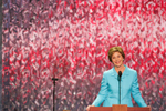 DIGITAL: LWB 2220 Laura Bush: Speech to the Republican National Convention. Madison Square Garden. New York City.  Used in Photos of Note - Republican National Convention August 30 - September 2, 2004. Used in OVP Christmas 2004 Slide Show. RELEASED TO: Kessler for a book on First Ladies, 080505