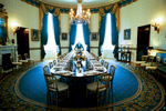 1200 U.S. - EU Summit Lunch. Blue Room. Blue Room interior with table set for the luncheon.  White House butler is present.