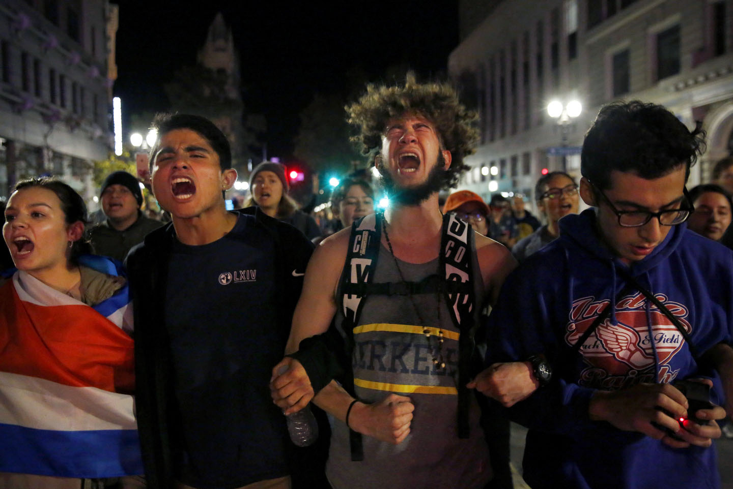 Protesters from Berkeley chant {quote}not my president{quote} as they march down Broadway during an anti-Trump protest Nov. 8, 2016 in Oakland, Calif., after the announcement that Republican presidential candidate Donald J. Trump won the presidential election.