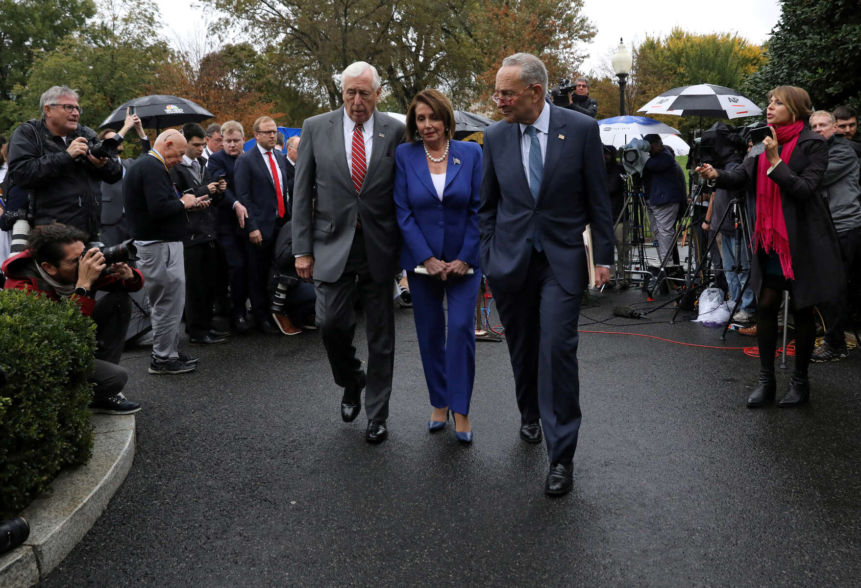 House Majority Leader Steny Hoyer (D-MD), House Speaker Nancy Pelosi (D-CA) and U.S. Senate Minority Leader Chuck Schumer (D-NY) walk away from a news conference after meeting with U.S. President Donald Trump about Trump's decision to withdraw US troops from Syria at the White House in Washington, U.S., October 16, 2019. Democrats said they walked out of the meeting after it spiraled into name calling and insults. Pelosi said she prays for the president and called the event a {quote}a very serious meltdown{quote}. Pelosi would eventually call for the impeachment of the president based on mounting evidence the democrats believed pointed to an abuse of power by the president based on a phone call he made to President Zelensky asking for an investigation into his political rival Joe Biden's son.