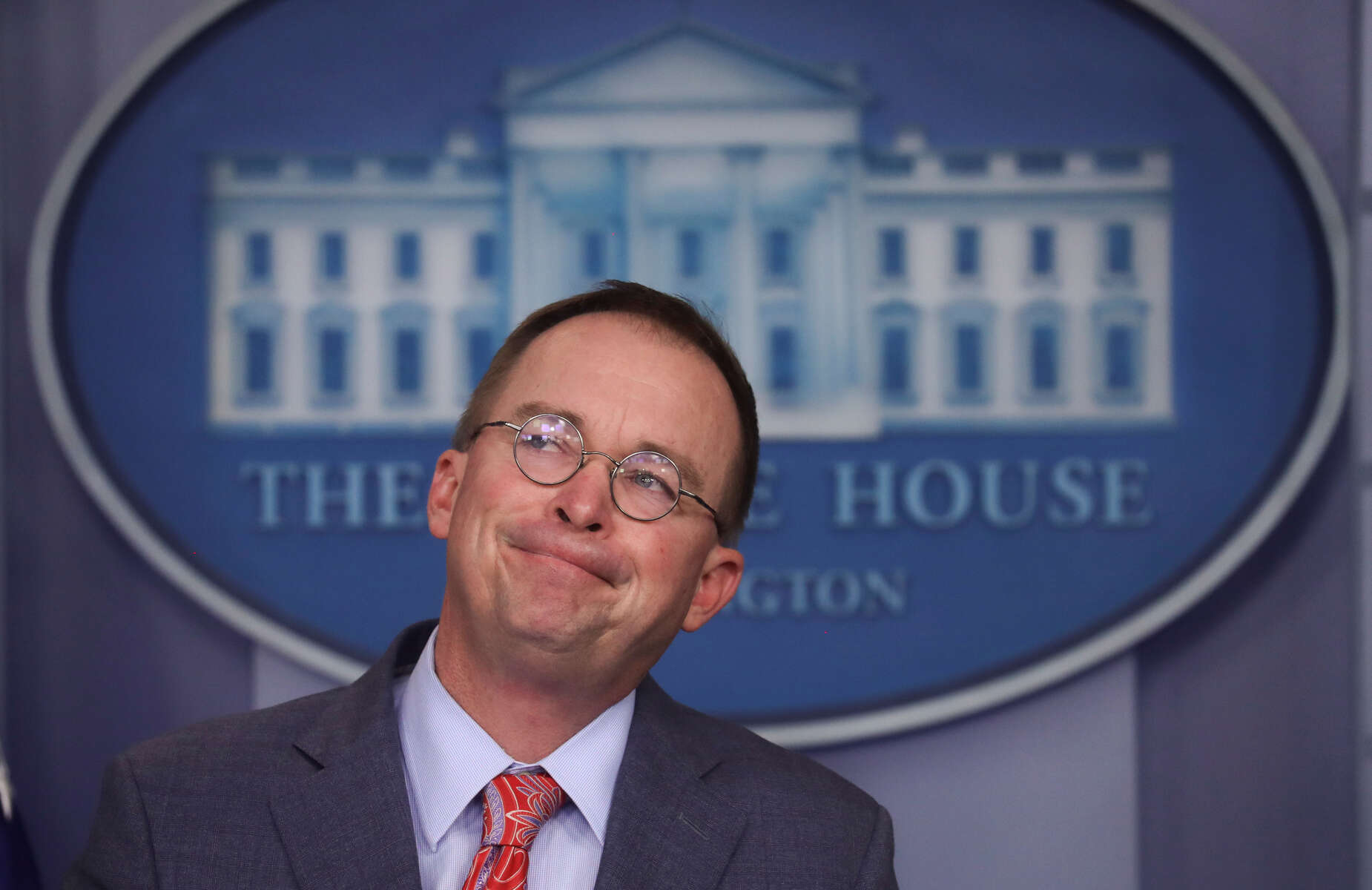 Acting White House Chief of Staff Mick Mulvaney addresses reporters during a news briefing at the White House in Washington, U.S., October 17, 2019. The news briefing shook Washington after Mulvaney admitted there had been a {quote}quid pro quo{quote} with the president and the Ukrainian president. {quote}We do it all the time, get over it{quote} Mulvaney declared. He later tried to walk his statements back.